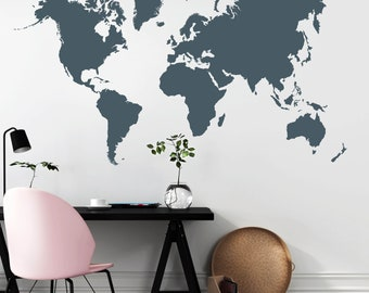 Country world map decal etsy sg wall decals detailed world map continents publicscrutiny Image collections