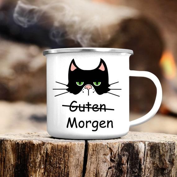 Campingbecher Guten Morgen Katze Edelstahl