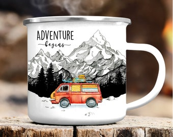 Mug Camping Mug Enamel Bus Adventure Begins Auto Roadtrip, Birthday Gift, Christmas Gift