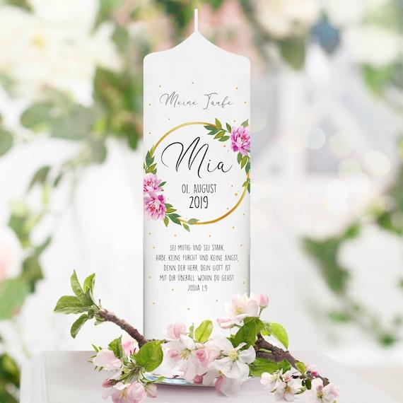 Weiße Taufkerze Kerze Zur Taufe Oder Geburt Blumenkranz Rosen Mit Name Datum Taufspruch