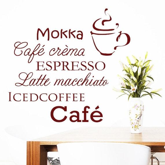 Wandtattoo Schriften Kaffee Cafe Kaffeetasse Küche