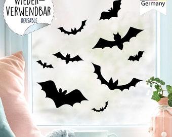 Window Picture Halloween Bats Silhouette Window Decoration Children's Room Child Window Foil Window Decoration