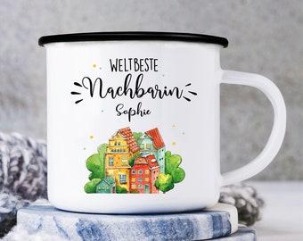 Enamel camping mug world's best neighbor, gift birthday, Christmas present