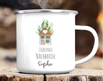 Enamel camping mug favorite neighbor, gift birthday, Christmas present