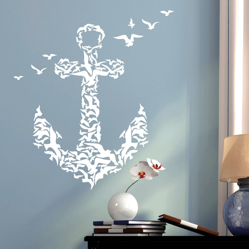 Wandtatto anchor from birds Maritim Bird