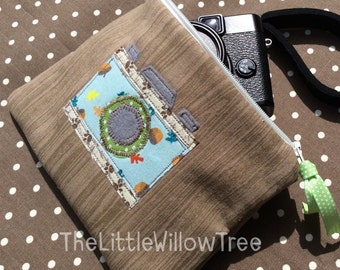 Handmade Zipper Pouch with Applique Camera