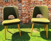 Czechoslovakian Tatra Upholstered Chairs in Olive Green Color by Antonin Suman