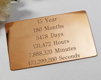 Copper wallet insert card 15th anniversary gift for husband gift for wife custom engraved 15th anniversary gift for men gift for women