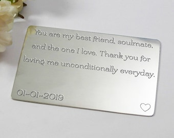 Custom Boyfriend anniversary gift engraved wallet insert for him personalised boyfriend gift boyfriend keepsake personalised boyfriend card
