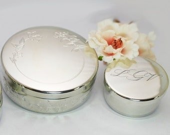 Engraved round silver keepsake box for First Communion
