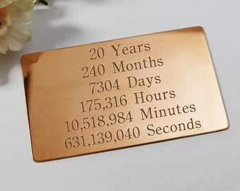 Gift for 20th anniversary husband wife gift anniversary 20th anniversary wallet insert engraved gift for him her 20th anniversary gift