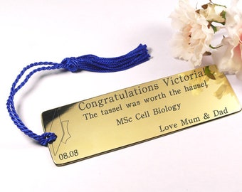 Graduation gift engraved brass bookmark customised bookmark personalised gift for her gift for him engraved bookmark graduation present