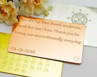 Husband Birthday Wallet Insert Card Gift For Him Custom Engraved Pewter Personalised Men