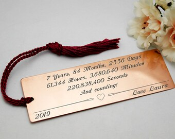 Personalised gift copper anniversary customised present 7th anniversary gift copper bookmark gift for him gift for her custom engraved