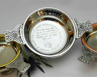 Engraved personalised Pewter 4'' Quaich