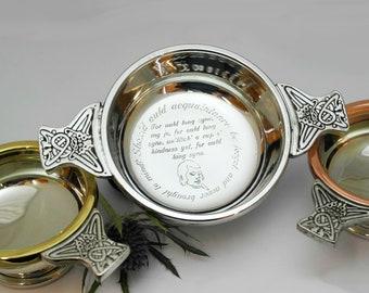 Celtic wedding gift engraved quaich personalised quaich wedding traditional celtic wedding quaich customised engraved celtic quaich