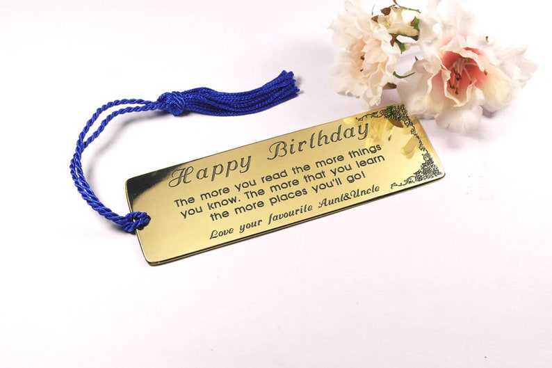 Engraved Brass Bookmark Gift For Nephew Customised
