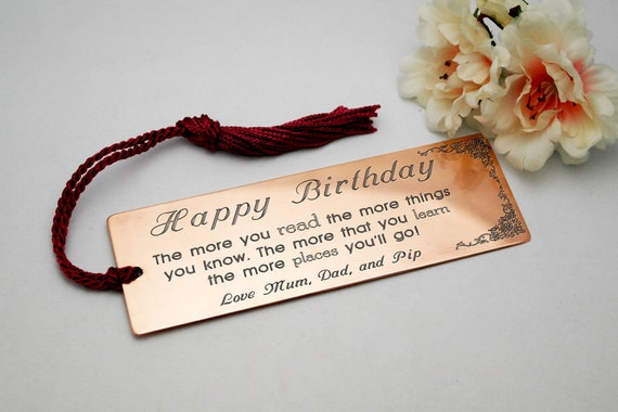 engraved copper bookmark personalised stepson gift birthday