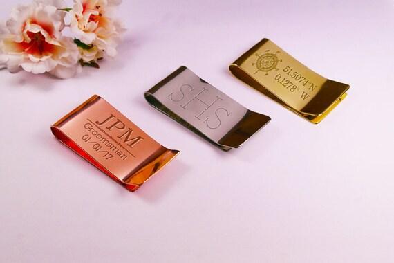 Jalon d'anniversaire argent clip gravé cadeau personnalisé anniversaire cadeau monogramme argent clip personnalisé gravé métal argent clip portefeuille