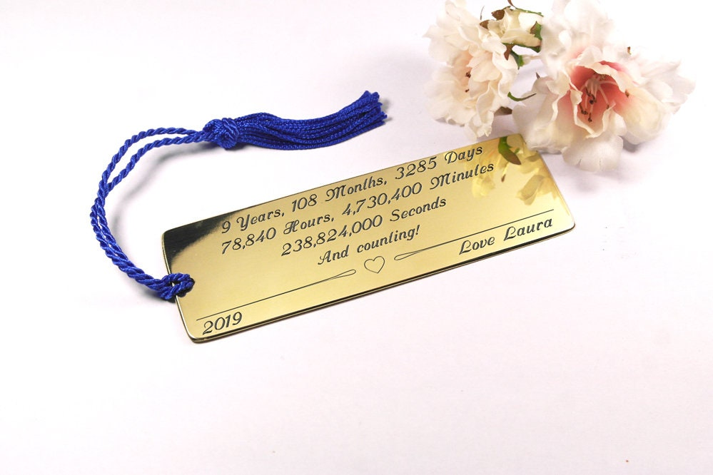 9th Anniversary Gifts For Husband: Engraved Bookmark 9th Anniversary Gift For Husband Brass