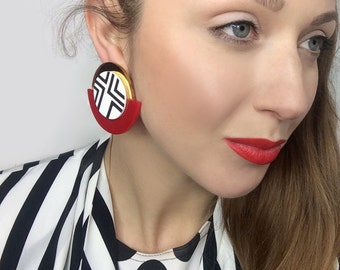 Red and Gold Round Earrings, Black and White Geometric Clip-on Earrings by ENNA