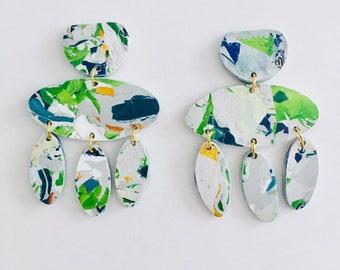 Multicolour Oval Shape Dangle Earrings, Big Statement Earrings, Drop Colourful Recycled Earrings by Enna Jewellery