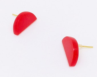 Small Geometric Stud Half Circle Earrings, Red Acrylic Jewellery