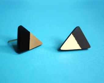 SALE Geometric Earrings, Small Stud Triangle Earrings, Acrylic Geometric Earrings in Black and Gold by ENNA