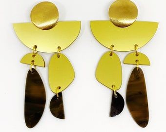 Big Dangle Statement Earrings, Dangle Gold Asymmetric Earrings, Tortoise Shell Earrings by Enna Jewellery