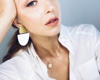 Block Clip On Dangle Earrings, Big White Statement Earrings, Gold Statement Earrings by Enna Jewellery