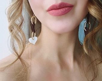 Heart Chain Drop Statement Link Earrings,  Nude Dangle by ENNA jewellery