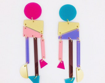 Drop Geometric Acrylic Clip-on Earrings, Round and Pointy Bar Dangle Design by ENNA