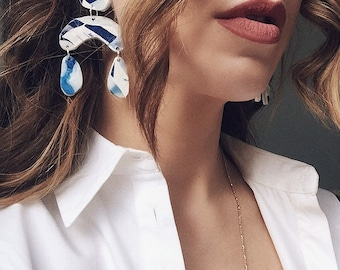 Oval Shape Blue White Dangle Earrings,  Big Statement Earrings, Drop Colourful Ethical Earrings by Enna Jewellery