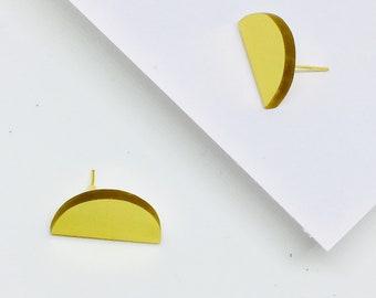SALE Geometric Earrings, Small Stud Half Circle Earrings, Acrylic Geometric Earrings in Gold by ENNA