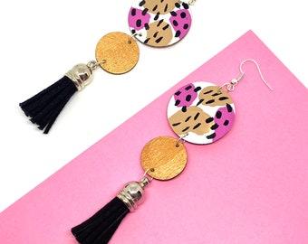 Circle Pattern Drop Statement Tassel Earrings, Long Wooden Earrings by ENNA Jewellery