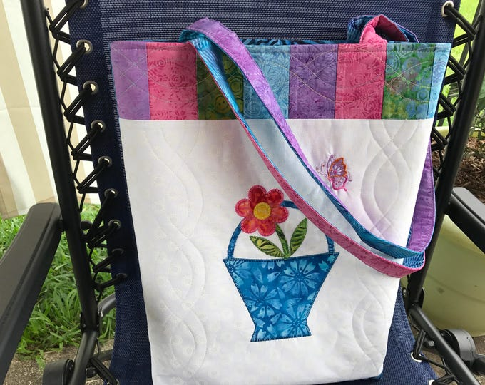 SALE - Appliquéd, Embroidered & Quilted Tote - SALE