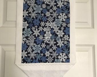 SALE-Snowflakes Table Runner Blue/white Trim