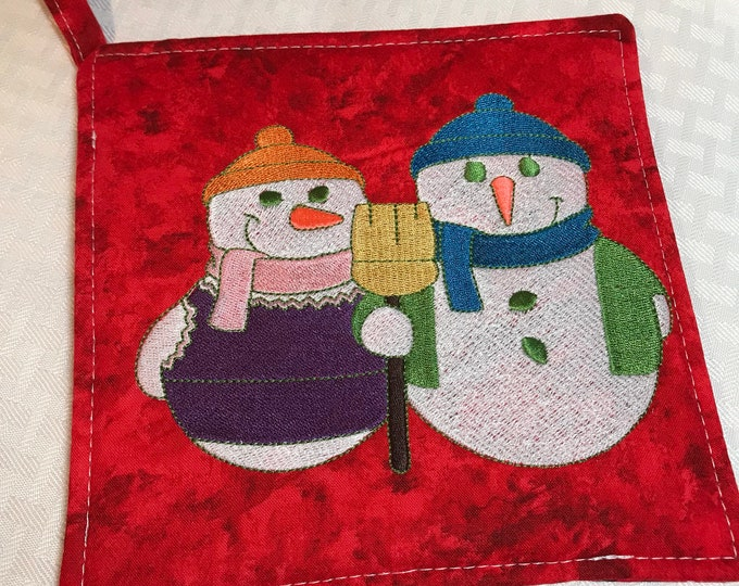 Embroidered Christmas Pot Holder