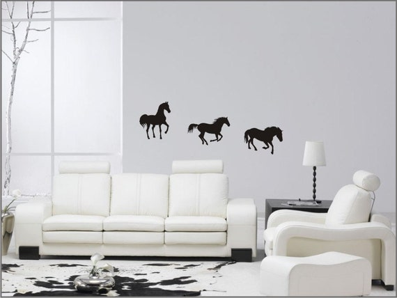 seven horses decal equestrian wall stickers wild horses wall | etsy