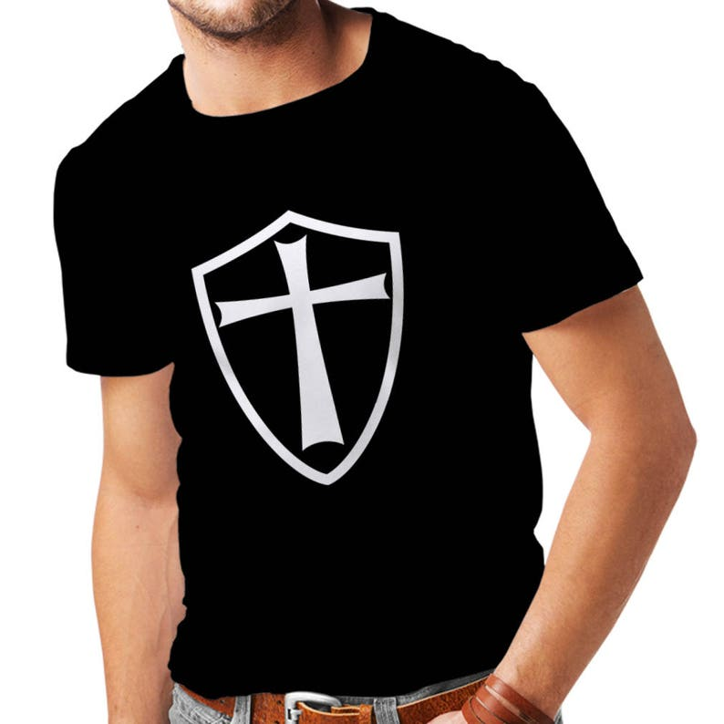 6930511a8f6ed Men s Knights Templar Shield Logo Crew Neck T-Shirt