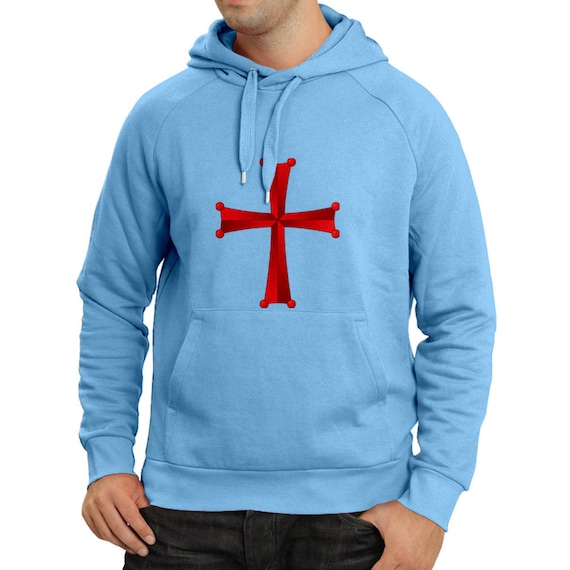 Men's Christian Knight Order The knights Templar Cross Crew Neck Long Sleeve Hoodie, Crusader Hoodie Christian Knights Templar Cross