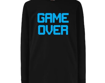 Boy's Game Over Slogan Crew Neck Long Sleeve T-Shirt - N4531D