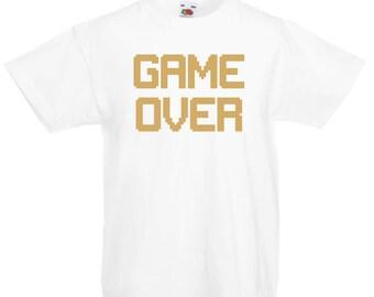Boy's Game Over Slogan Crew Neck Short Sleeve T-Shirt - N4531K