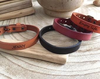 Bracelet homme cuir bracelet personnalisable, message gravé, Bracelet cuir  personnalisé, Bracelet en cuir personnalisable
