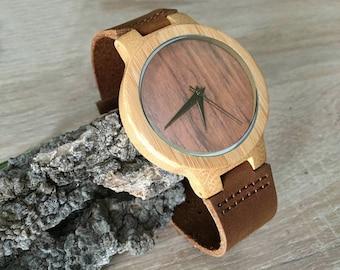 Montre homme cadeau bois minimaliste, cadran bambou a graver, cadeau  personnalisé pour homme, bracelet cuir a4e33b6deb2