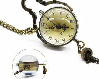 Antique pocket watch, globe and visual mechanism