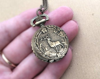 Small pocket watch, necklace, forest gift deer gift