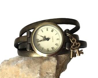Evening Jewelry, Women's Watch Antique Bronze Leather Jewelry Bronze Party Charm