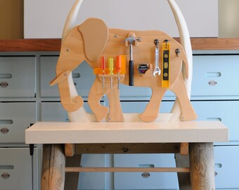 Wooden Elephant Child's Work Bench, Craft Table, Furniture, Decor