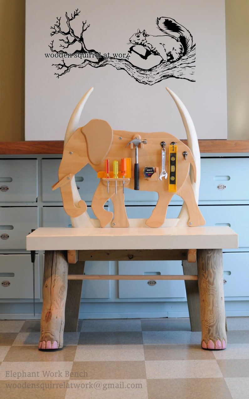 Wooden Elephant Childs Work Bench Craft Table Furniture Decor